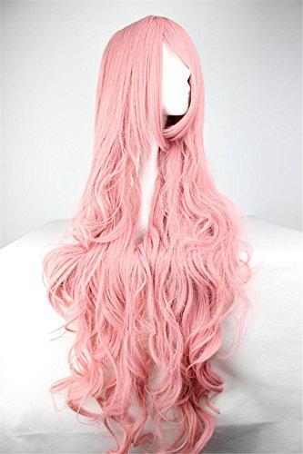 AN-LKYIQI Womens Damen Mädchen 100cm rosa Farbe lange lockige Perücken qualitativ hochwertige Haare schnitzen Cosplay Kostüm Anime Party knallt voll Sexy (Kostüm Luft Göttin)