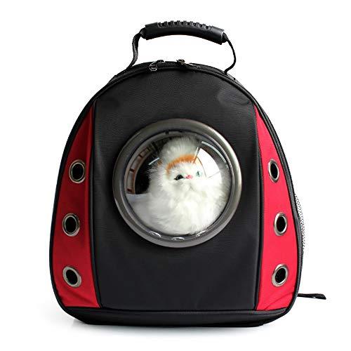 LoveIyPet Pet Space Cat Bag Brusttasche Transparenter Rucksack Hund Kreativer Schulterraum Rucksack (Color : Red)
