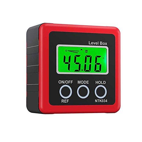 Crewell Digital Box Gauge Winkel Winkelmesser Level Neigungsmesser magnetisch Boden 0–360Grad Rot