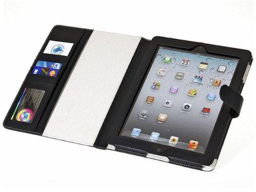 Housse cuir iPad Folio Bluestork avec porte carte visite +wake up