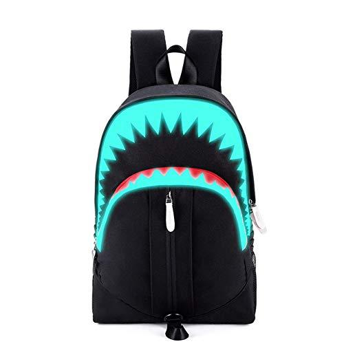 Shark Luminous Laptop Rucksack mit USB Ladeanschluss School College Student Jungen Mädchen Daypack Durable Reisetasche für Jugendliche, Schwarz