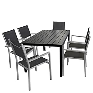 Trading table en polywood 150 x 90 cm noir table de jardin for Amazon salon de jardin aluminium