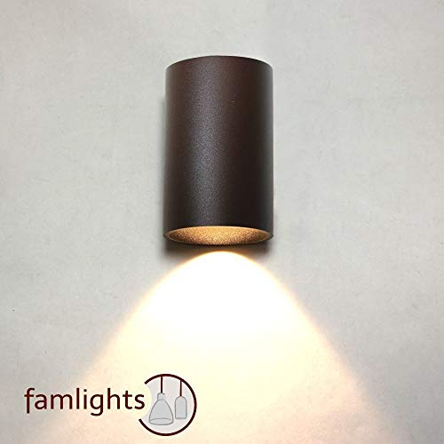 famlights LED Außenwandleuchte Moritz Aluminium, braun | Außenbeleuchtung schlicht Balkon Terasse...