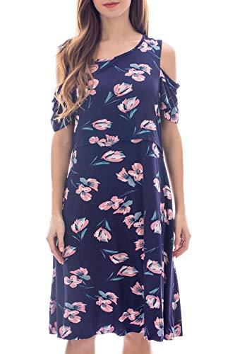 Smallshow Stillkleid Umstandsmode Tshirt Kleid Umstandskleid Kurzarm 2in1 Sommerkleid Damen Umstands Kalte Schultern SVP030 XL - Kalte Schulter Kleid