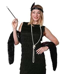 BLACK FLAPPER FANCY DRESS INSTANT GATSBY KIT BLACK FAUX FUR STOLE + FEATHER HEADBAND + PEARL NECKLACE + FAKE CIGARETTE + CIGARETTE HOLDER 20S GREAT GANGSTER MOLL