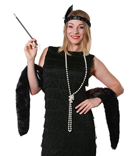 BLACK FLAPPER FANCY DRESS INSTANT GATSBY KIT BLACK FEATHER BOA + FEATHER HEADBAND + PEARL NECKLACE + CIGARETTE HOLDER 20S GREAT GANGSTER - Sequin Flapper Kind Kostüm