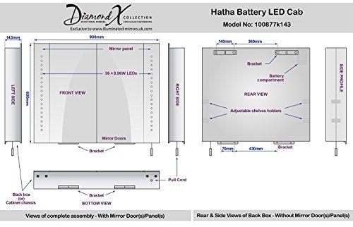 Spiegelschrank mit Batteriebetrieb – 90 cm - 7