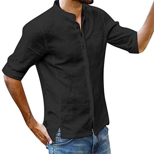 ZHANSANFM Leinenhemd Herren Stehkragen 3/4 Ärmel Hemd Unifarben T-Shirt Männer Henley Freizeithemd Regular Fit Shirt Modern L Schwarz -