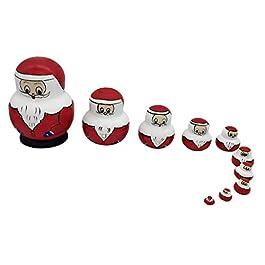 10 Pezzo Legno Russo Nesting Bambola Regalo di Babbo Natale Matrioska Natale