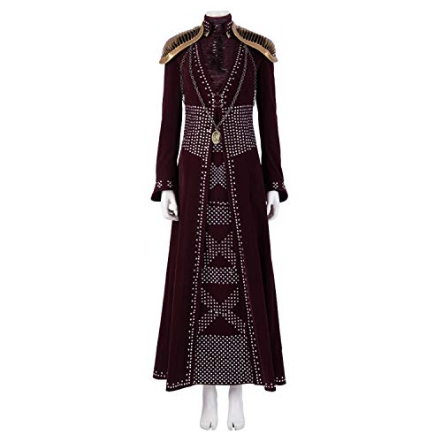 Rote Für Kostüm Erwachsene Deluxe Königin - QWEASZER Game of Thrones 8 Königin Cersei Lannister Kostüm Erwachsene Frauen Rotes Kleid, Langarm-Shirt, Schulter Rüstung, Halskette Halloween Cosplay Kostüm Filmrequisiten Deluxe Edition,Cersei-XXL