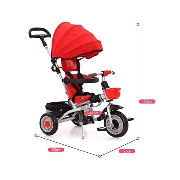 3 In 1 Tricycle 6 Months To 6 Years Folding Sun Canopy 3-Point Safety Belt Childrens Tricycles Blockable Rear Wheels Detachable And Adjustable Push Handle Folding Trike Maximum Weight 25 Kg,Red BGHKFF ★ 3-in-1 multi-function: convertible into stroller and tricycle. Remove the putter and awning as a tricycle. The best choice for 6 months to 6 years. ★ Tricycle foldable, space saving, easy to carry, is the best travel companion ★ Adjustable push rod, the push rod is directly connected to the tricycle handlebar through the steering link, and the parents can use the push rod to control the direction. 4
