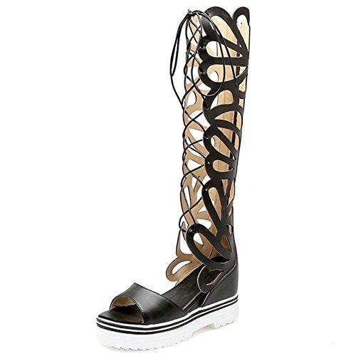 TAOFFEN Femmes Gladiateur Peep Toe Bottilons Sandales Classique Compenses Talons Hauts Lacets Chaussures Noir