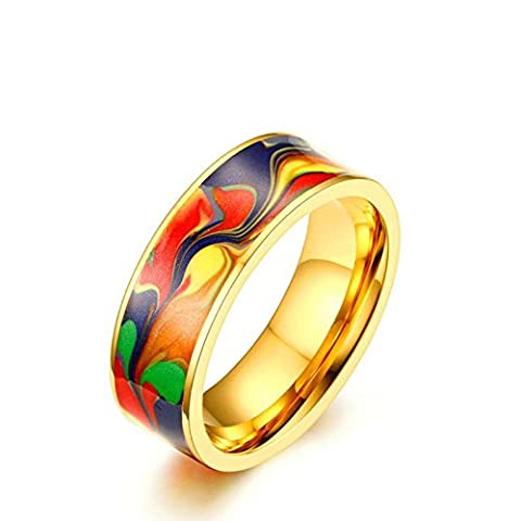 Onefeart Femme bague acier inoxydable Hommes Bande de Mariage,Abstract Oil Painting Émail 7mm Taille 60 Or