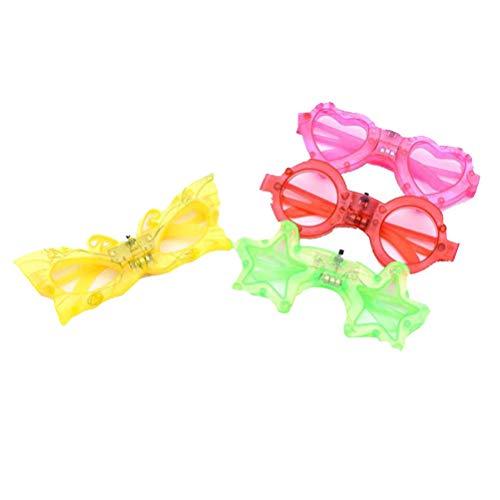 YeahiBaby Leuchtend Brillen Blinkende Gläser für Neujahr Weihnachten Kinder Party Kostüme 4 Stücke