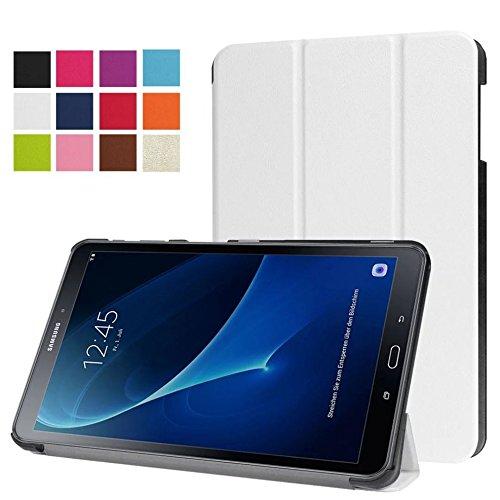 Schutzhülle für Samsung Galaxy Tab A 10.1 SM-T580 T585 Zoll Smart Slim Case Book Cover Stand Flip T580N T585N (Weiß) NEU