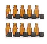 10er Packung - 15ml Braunglas Aromatherapie Flasche Mit Schwarzer Kappe