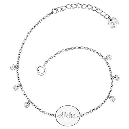 Glanzstücke München Damen-Armband Aloha Sterling Silber 17 + 3 cm - Armkettchen Silber-Armschmuck mit Anhänger Freundschaftsarmbänder Geschenk