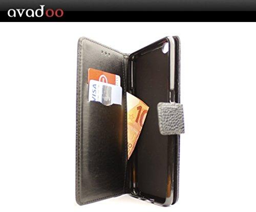 avadoo® Archos Diamond Gamma Flip Case Cover Tasche Schwarz mit Magnetverschluss und Dualnaht als Cover Tasche Hülle