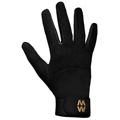 Macwet Aquatec Non Slip Grip Horse Riding Gloves Long Cuff Black
