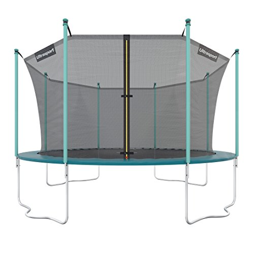Ultrasport Outdoor Gartentrampolin Jumper, Trampolin Komplettset inklusive Sprungmatte, Sicherheitsnetz, gepolsterten Netzpfosten und Randabdeckung, bis zu 150 kg, grün, Ø 430 cm