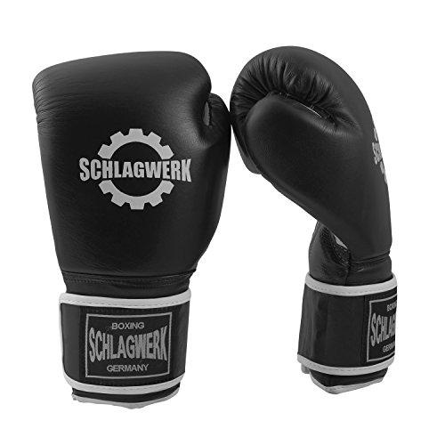 SCHLAGWERK Premium Boxhandschuhe Echtleder 12 oz TS Männer/Frauen (Schwarz/Weiss) mit Klettverschluss