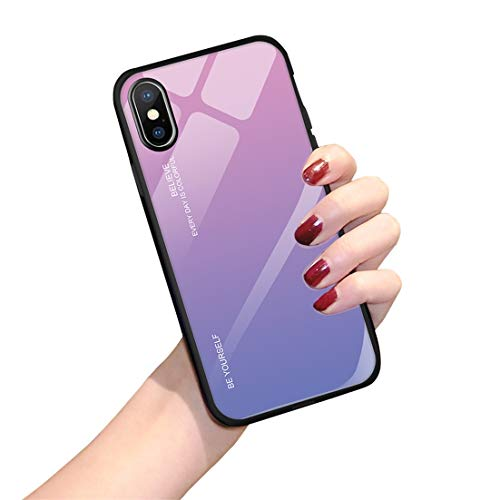 Hülle für iPhone X XS,Handyhülle iPhone XS MAX Glashülle [Ultra Hybrid Silikon TPU mit Gradient 9H Panzerglas] iPhone XR Case Cover Tasche Schale Kratzfeste Schutzhülle für iPhone XR(iPhone XS MAX, 3)
