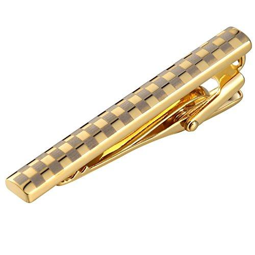 Beydodo Modeschmuck Hochzeit Herren Krawattenklammer Edelstahl Hochglanzpoliert Rechteck mit Gitter Muster Gold Krawattennadel Weihnachtsgeschenk