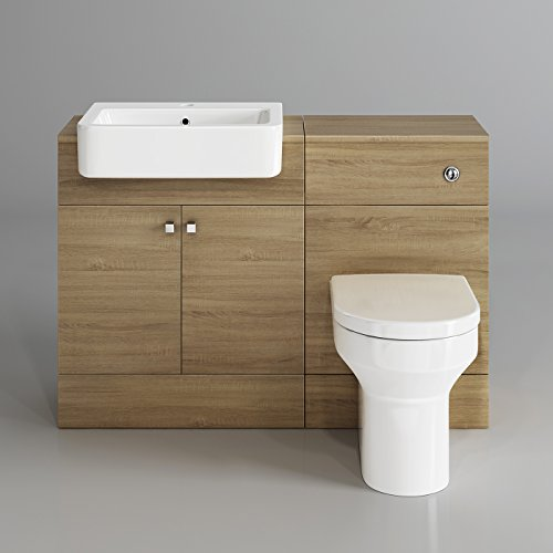 1160mm Luxury Oak Wood Toilet + Sink Vanity Unit ...