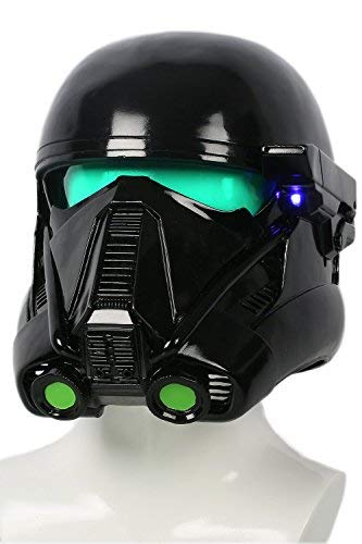 Halloween Death Trooper Helm Cosplay Kostüm Schwarz Vollen Kopf Weichem Harz Maske Replik mit LED Erwachsenen Fancy Dress ()
