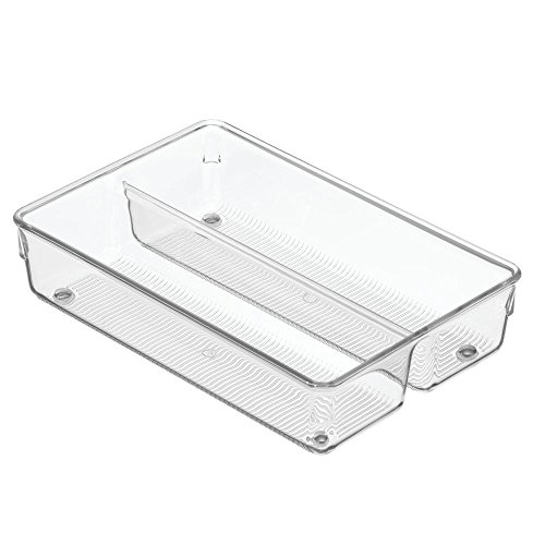 InterDesign Linus Cutlery Tray for Silverware, Compact Kitchen Accessories for Storage and Organising Cutlery, Made of Durable Plastic, Clear