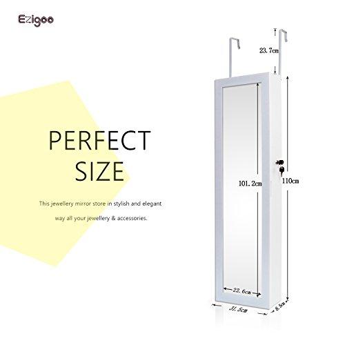 Ezigoo Schmuckschrank Spiegel Türgestell / Spiegel Schmuckschrank hängend mit LED Lichtleiste 110 x 31,5 x 8,5 cm - 7
