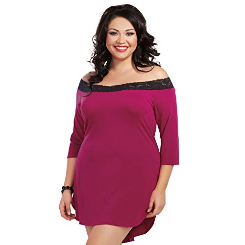 Dreamgirl Tunika-Kleid für Damen, Übergröße, Baumwolle und Elastan, Jersey, mit Spitzenbesatz - Pink - 3X/4X -