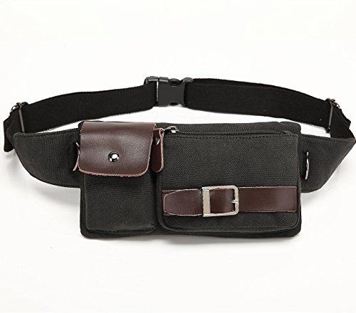 BAOSHA YB-01 Bolso Riñoneras Hombre y Mujer de Lona Cinturón Riñonera para Viaje de Cuero Bolsos de Cintura Bolsas de Pecho de Tela de Lona para Hombres Bum Bag (Lona Negro)
