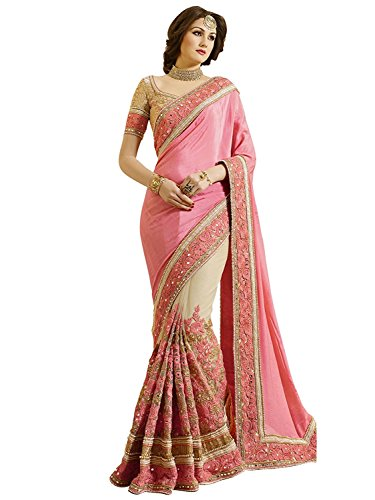 Nivah Fashion Women's Sattin Chifon 'Net' Embroidery Saree...K663
