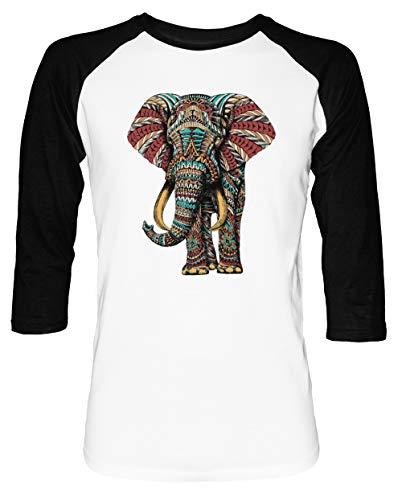 Florido Elefante Hombre Mujer Unisex Camiseta De Béisbol Blanca Negra Manga 2/3 Women's Men's Unisex Baseball T-Shirt