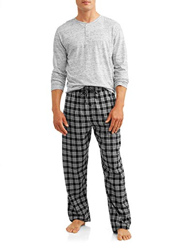 Hanes Men's Pajamas EcoSmart Flannel Plaid Pants Sleep Set Super Comfy PJ's for Adult Men - Hanes Flanell