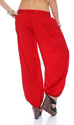 malito Pantaloni alla zuava classico Design Boyfriend Aladin Harem Pantaloni Sbuffo Pantaloni Pump Baggy Yoga 3417 Donna Taglia Unica rosso