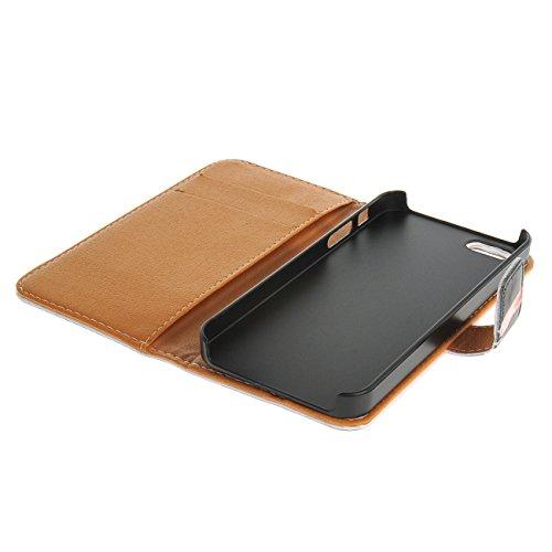 MOONCASE Case pour iPhone 5 / 5G / 5S Coque en Cuir Portefeuille Housse de Protection Étui à rabat Case / a07 a01