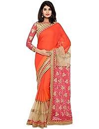 Aagaman Fashions Mujer India Divine naranja frontera de color trabajado Faux Georgette Partywear Saree