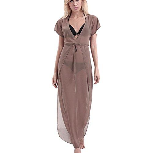 Robes, Malloom® Femmes V Neck manches courtes Boho Longue soirée Maxi Robe de fête Marron