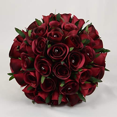 Künstliche Petals Polly Flowers Brautstrauß, handgemacht, Burgund Rosen (Brautsträuße Burgund)