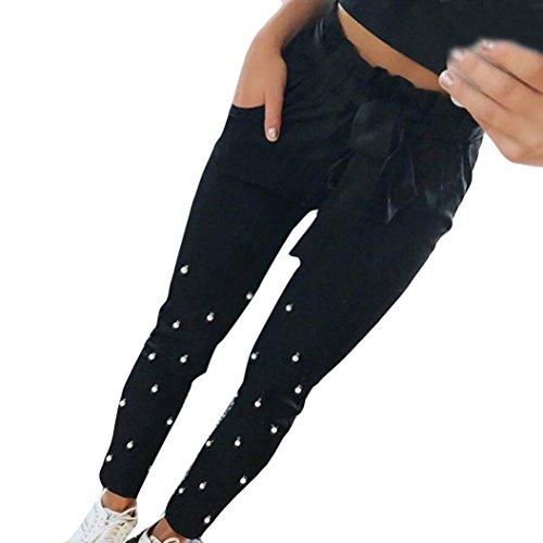 ❤️• •❤️Yoga Hosen Damen, LUCKYCAT Frauen Kordelzug Breites Bein Hohe Taille Lange Fitness Beiläufige Hosen Yoga Baumwollmischung Solide Freizeithosen (X-Large, Schwarz)