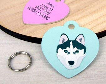 Dog Tag – Malmute Husky Tag – Husky Collar Charm – HEART – Personalised Dog Tag – Custom Pet Tag – Husky – Siberian Husky – Custom Pet Tag