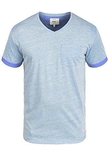 Redefined Rebel Moses Herren T-Shirt Kurzarm Shirt V-Ausschnitt Brusttasche Aus Hochwertiger Baumwollmischung Meliert Blue