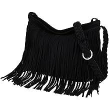 bfd99b6861cf8 Vbiger Umhängetasche Damen Schultertasche Fransen Fransentasche  Kunstwildleder für Frauen