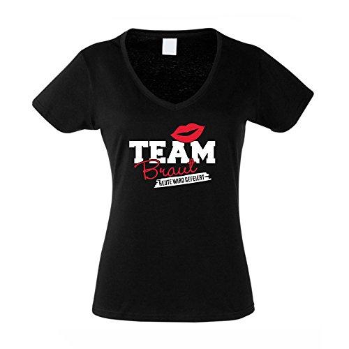 Damen T-Shirt V-Ausschnitt - TEAM BRAUT - heute wird gefeiert weiss-fuchsia