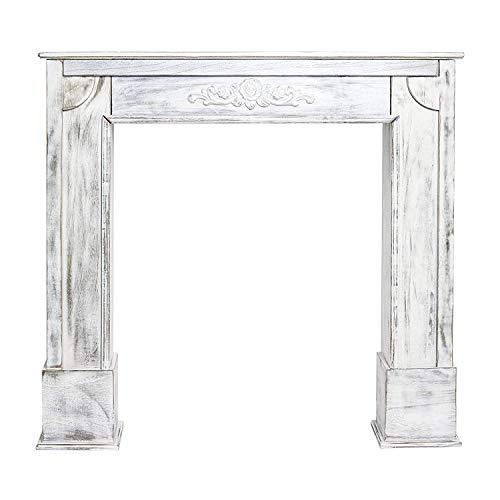Rebecca Mobili Kaminkonsole Shabby, dekorative Kaminumrandung aus Holz, Weiß , Vintage Design, Wohnbereich - Maße: 100 x 105 x 28 cm (HxLxB) - Art. RE4863 -