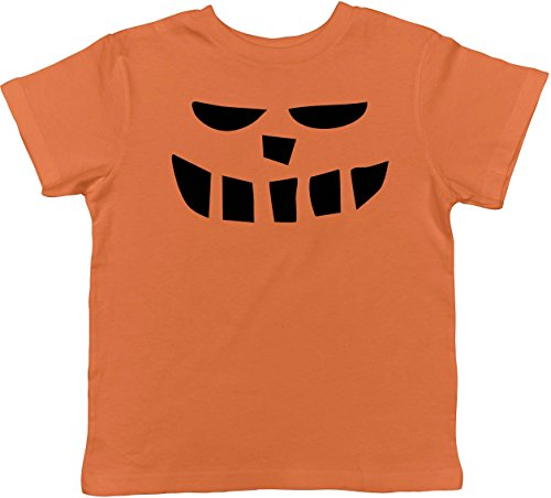 Crazy Dog TShirts - Toddler Smiling Teeth Pumpkin Face Funny Fall Halloween Spooky T shirt (Orange) 5T - baby-jungen - (Halloween Witz Nette Kinder)