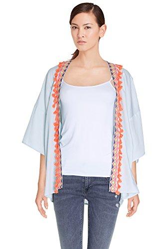 Damen Jacke Denim Fluid leicht 100% Cotton Stickereien und Pompons Colorblock Lola–ct6018–verfügbar in 1Farbe: bleuclair Gr. One size, hellblau (Colorblock-leder-jacke)