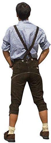 Trachten Lederhose aus echtem Leder Kniebundhose Größe 46-60 (56, Dunkelbraun) -